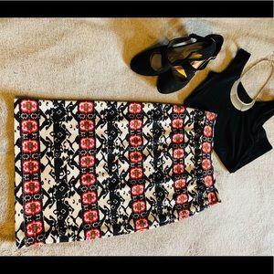 Women's Patterned Midi Skirt